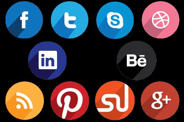 Flat Round Social Media Icons