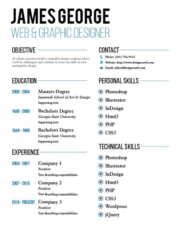 Design Crawl Resume Template