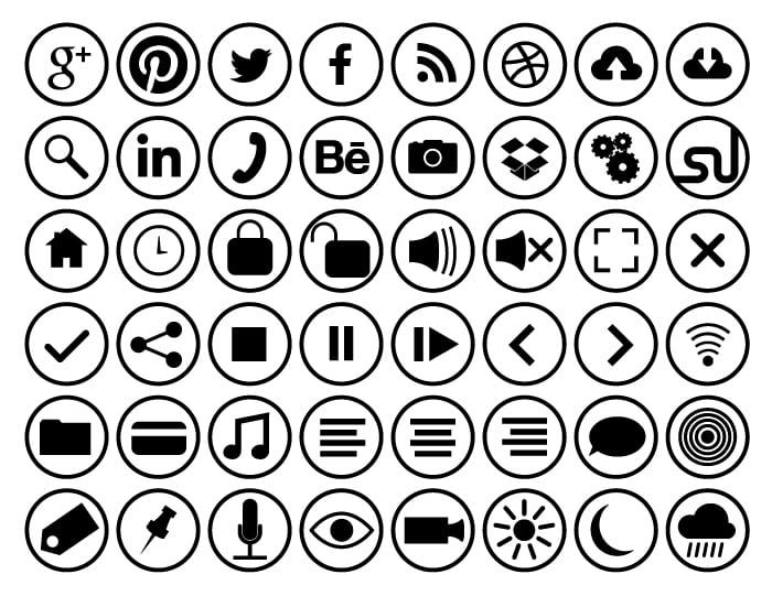 Flat circle icons