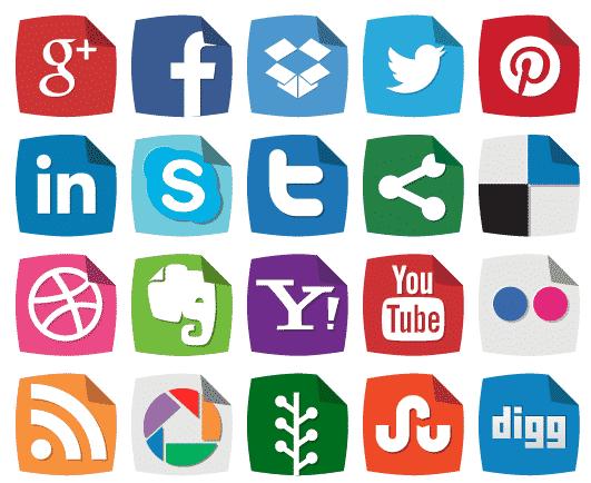 Peeling Corner Social Media Icons