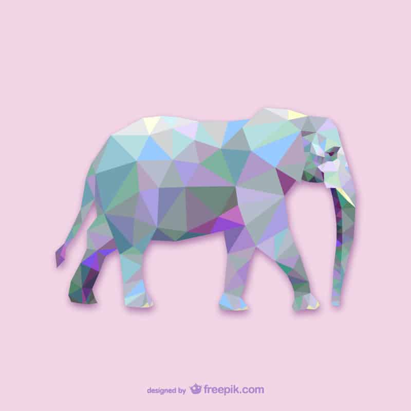 Vector geometric animals: Elephant