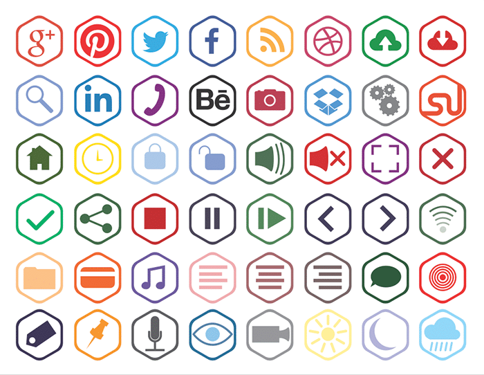 Free Hexagonal Outline Icons