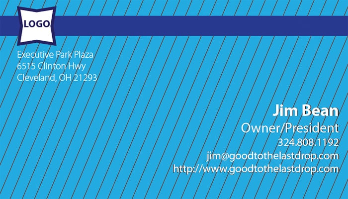 Pinstripe business card templates: Blue info
