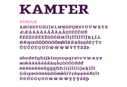 Kamfer: New free fonts
