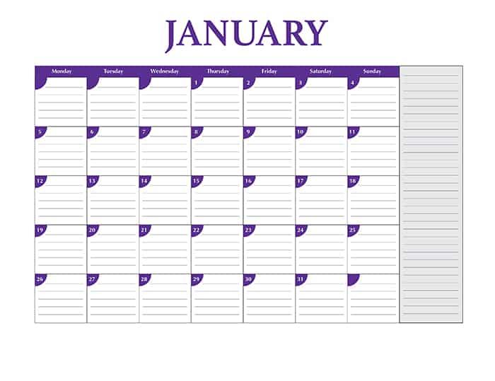 Free 2015 calendar template - January