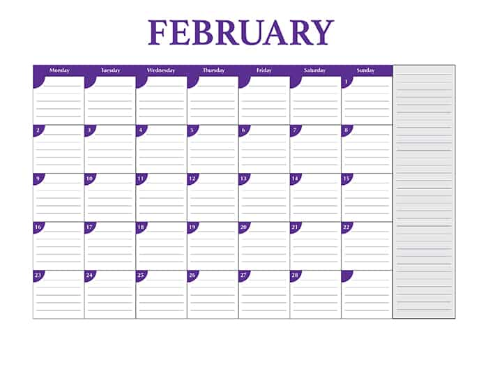 2015 desktop calendar template - February