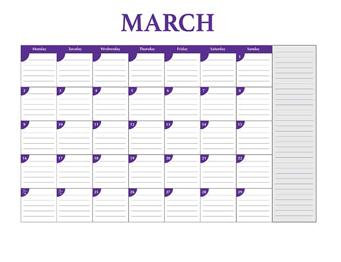 2015 desktop calendar template - March