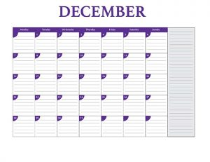 Free 2015 calendar template - December