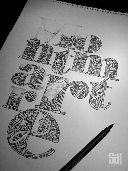 intricately drawn type design