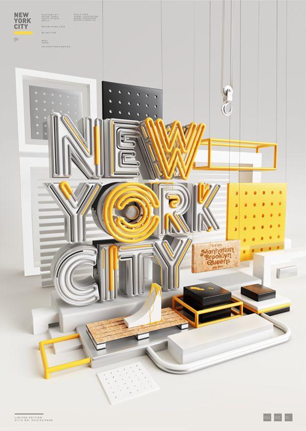 New York City 3D typography