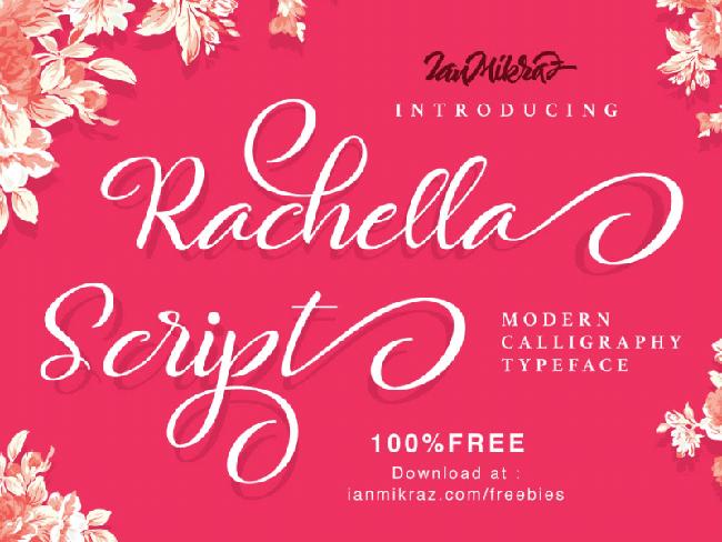 Rachella Free script font