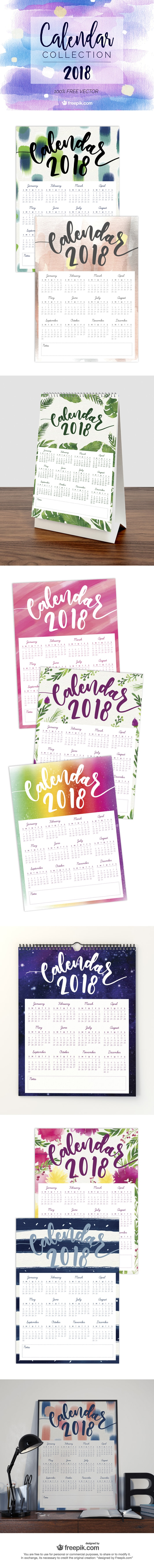 2018 calendar designs watercolor