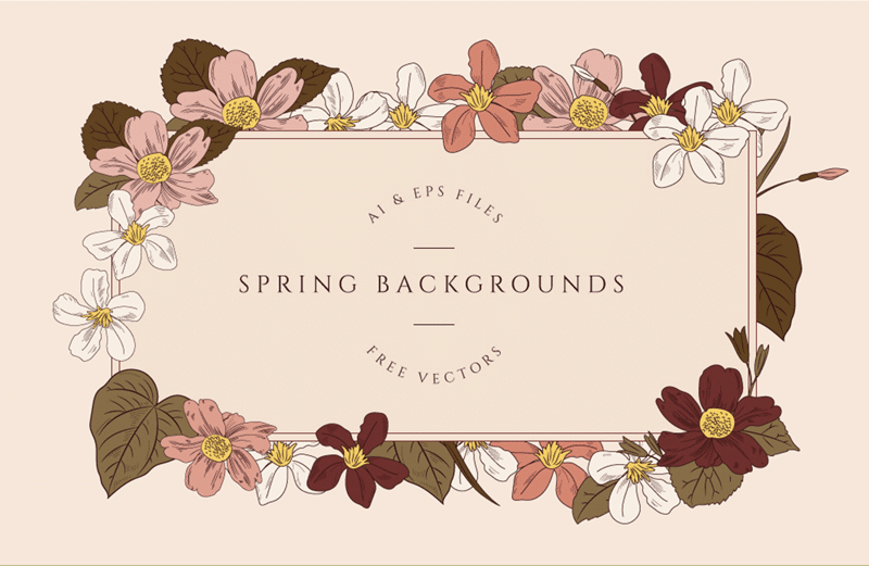 Free Vintage Spring Backgrounds (AI + EPS Formats)