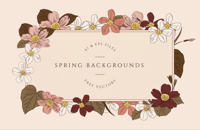Free Vintage Spring Backgrounds (AI + EPS Formats)