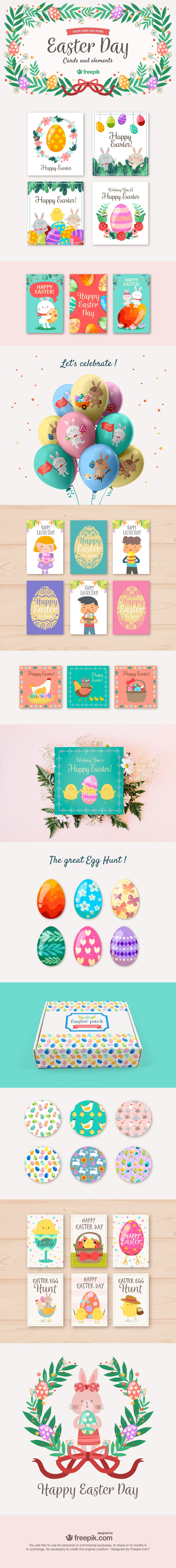 free Easter elements and cards