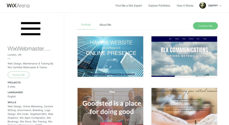 wix designer portfolio example 3